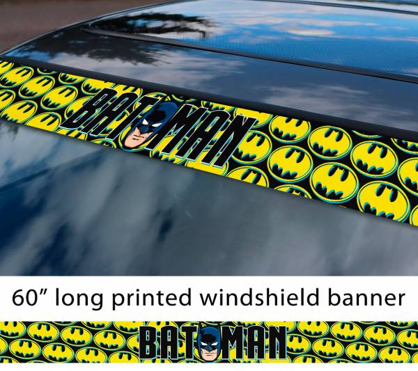 "60"" Batman Face Cartoon Sign Logo Comics Gotham Superhero DC Sun Strip Printed Windshield Car Vinyl Sticker Decal"
