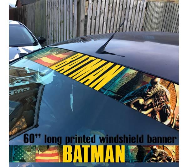 "60"" Batman Dark Knight USA Flag Bat Logo DC Sun Strip Printed Windshield Car Vinyl Sticker Decal"