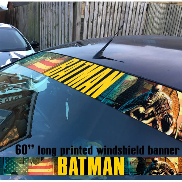 "60"" Batman Dark Knight USA Flag Bat Logo DC Sun Strip Printed Windshield Car Vinyl Sticker Decal"