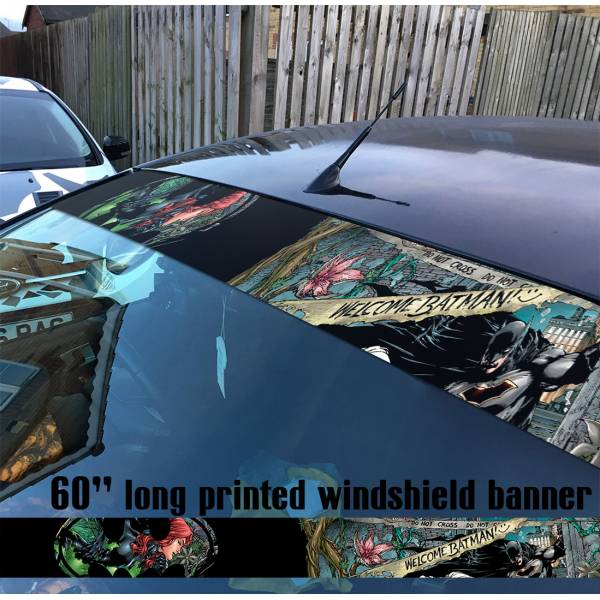 "60"" Bruce Wayne Poison Ivy Gotham Why Seriuos Sun Strip Printed Windshield Car Vinyl Sticker Decal>"