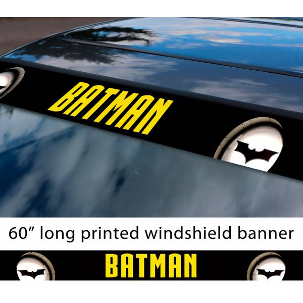 "60"" Batman Lights Sign Logo Comics Gotham Superhero DC Sun Strip Printed Windshield Car Vinyl Sticker Decal"