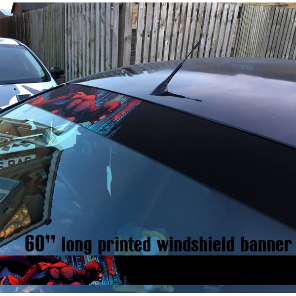 "60"" Bruce Wayne Red Gotham Superhero Sun Strip Printed Windshield Car Vinyl Sticker Decal>"