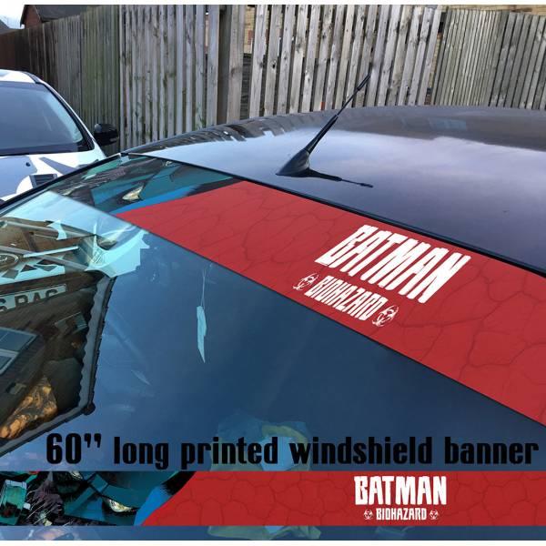 "60"" Batman Zombie Biohazard Outbreak Gotham Comics DC Sun Strip Printed Windshield Car Vinyl Sticker Decal"