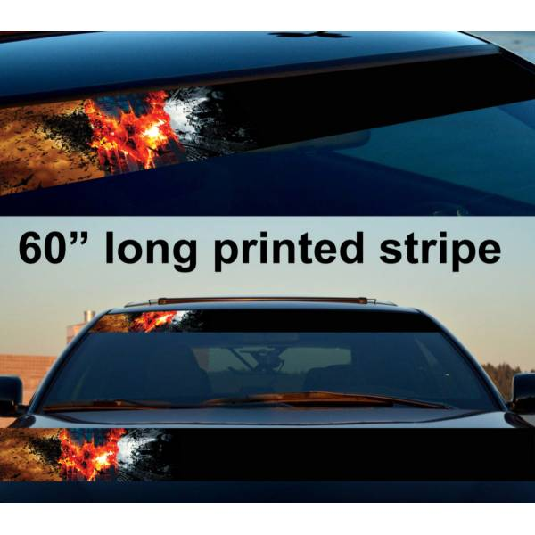 "60"" Bruce Wayne Dark Knight Flame Gotham Sun Strip Printed Windshield Car Vinyl Sticker Decal>"