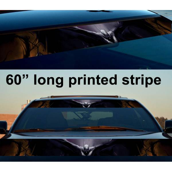 "60"" Bruce Wayne Wings Dark Knight Gotham Sun Strip Printed Windshield Car Vinyl Sticker Decal>"