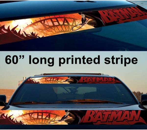 "60"" Batman Arkham Wayne DC Gotham Logo Sun Strip Printed Windshield Car Vinyl Sticker Decal"