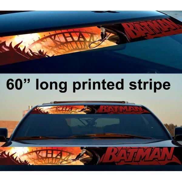 "60"" Batman Arkham Wayne DC Gotham Logo Sun Strip Printed Windshield Car Vinyl Sticker Decal"
