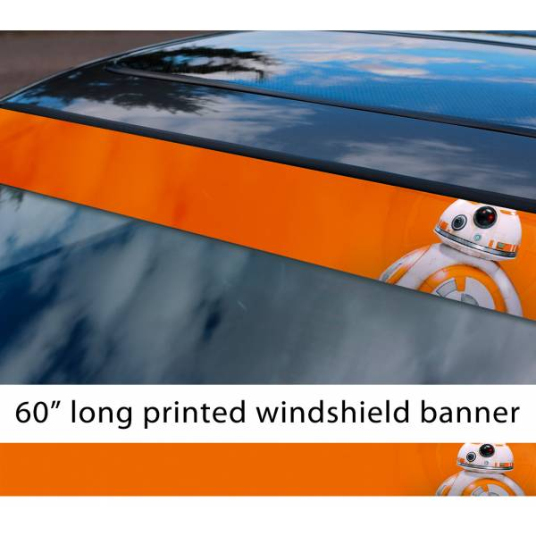 "60"" BB-8 Droid Force Awakens Rebel Alliance First Order Sun Strip Printed Car Vinyl Sticker Decal>"