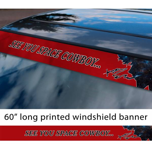 "60"" See You Space Cowboy Bebop Spike Spiegel Anime Manga Sun Strip Printed Windshield Vinyl Sticker>"