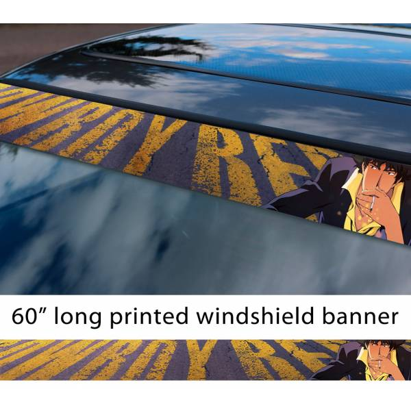 "60"" Cowboy Bebop v3 Bounty Hunter Spike Spiegel Jet Faye Ed Ein Anime Manga Sun Strip Printed Windshield Vinyl Sticker"