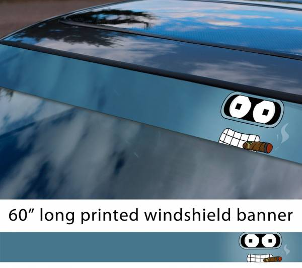 "60"" Bender Robot Futurama Shiny Ass Sun Strip Printed Windshield Car Vinyl Sticker Decal"