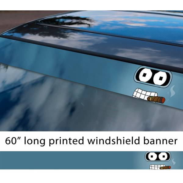 "60"" Bender Robot Futurama Shiny Ass Sun Strip Printed Windshield Car Vinyl Sticker Decal>"