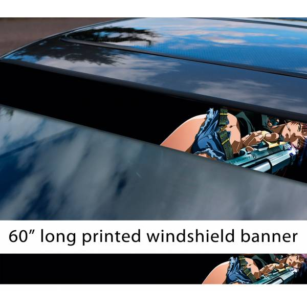 "60"" Black Lagoon v2 Revy Sexy Guns Anime Girl Manga Smoke Sun Strip Printed Windshield Car Vinyl Sticker Decal>"
