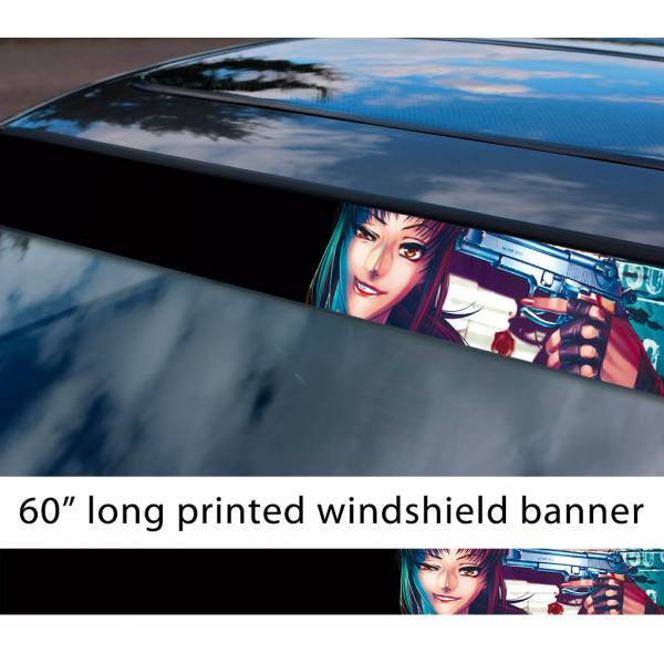 "60"" Black Lagoon v6 Revy Sexy Hot Guns Anime Girl Manga Smoke Sun Strip Printed Windshield Car Vinyl Sticker Decal>"