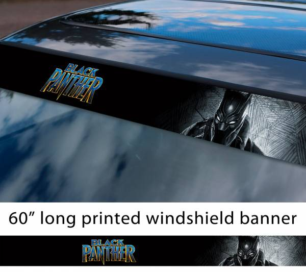 "60"" Black Panther v2 Logo Wakanda Forever King T'Challa Avengers Marvel Comic Sun Strip Printed Windshield Car Vinyl Sticker Decal"