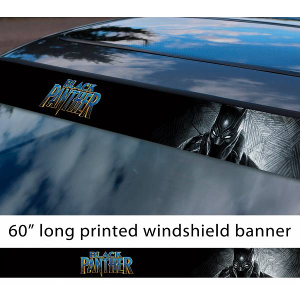 "60"" Black Panther v2 Logo Wakanda Forever King T'Challa Avengers Marvel Comic Sun Strip Printed Windshield Car Vinyl Sticker Decal"