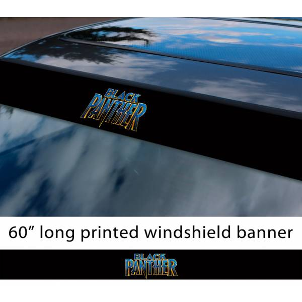 "60"" Black Panther v3 Logo Wakanda Forever King T'Challa Avengers Marvel Comic Sun Strip Printed Windshield Car Vinyl Sticker Decal"