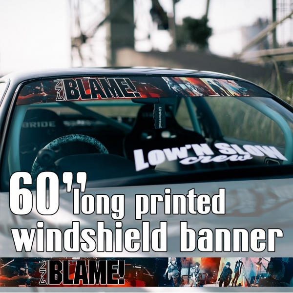 "60"" Blame! v6 Killy Cibo Sanakan Domochevsky City Netsphere Silicon Creatures Cyborg Blame Anime Manga Sun Strip Printed Windshield Car Vinyl Sticker Decal>"