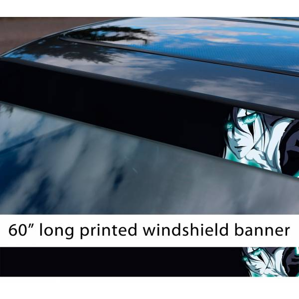 "60"" Bleach v2 Soul Ichigo Shinigami Kuchiki Urahara Anime Manga  Sun Strip Printed Windshield Car Vinyl Sticker Decal"