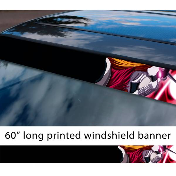 "60"" Bleach v3 Soul Ichigo Shinigami Kuchiki Urahara Anime Manga  Sun Strip Printed Windshield Car Vinyl Sticker Decal"