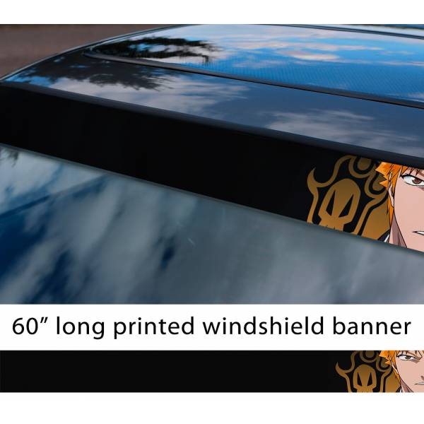 "60"" Bleach v5 Soul Ichigo Shinigami Kuchiki Urahara Anime Manga Sun Strip Printed Windshield Car Vinyl Sticker Decal>"