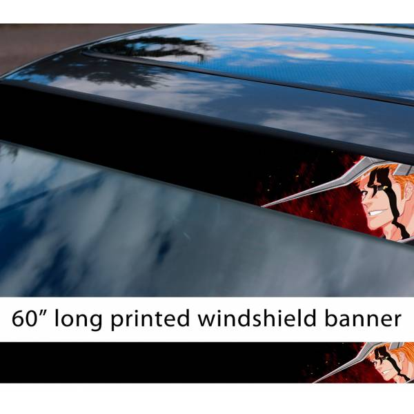"60"" Bleach v8 Soul Ichigo Shinigami Kuchiki Urahara Anime Manga  Sun Strip Printed Windshield Car Vinyl Sticker Decal"