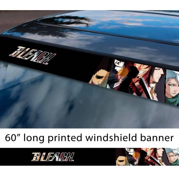 "60"" Bleach v9 Soul Ichigo Shinigami Kuchiki Urahara Anime Manga Sun Strip Printed Windshield Car Vinyl Sticker Decal>"