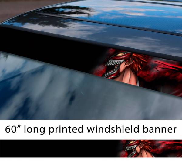 "60"" Bleach v10 Soul Ichigo Shinigami Kuchiki Urahara Anime Manga  Sun Strip Printed Windshield Car Vinyl Sticker Decal"
