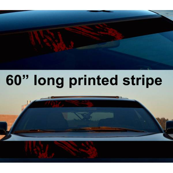 "60"" Zombie Blood Walking Sun Strip Printed Windshield Car Vinyl Sticker Decal"