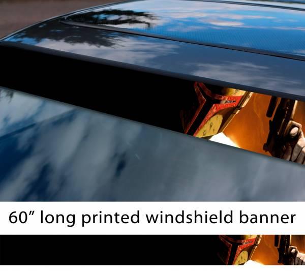 "60"" Boba Fett Star Wars v1 Clone Stormtrooper Mandalorian Dark Force Sun Strip Printed Windshield Car Vinyl Sticker Decal"