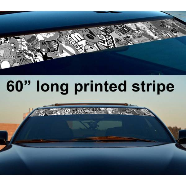"60"" Sticker Bomb v2 JDM Sun Strip Printed Windshield Graphics Car Vinyl Decal>"