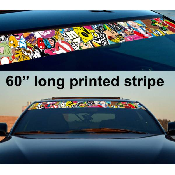 "60"" Sticker Bomb JDM Sun Strip Printed Windshield Graphics Car Truck Vinyl Decal>"