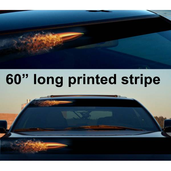 "60"" Bullet Gun Rap Fire Sun Strip Printed Windshield Car Vinyl Sticker Decal>"