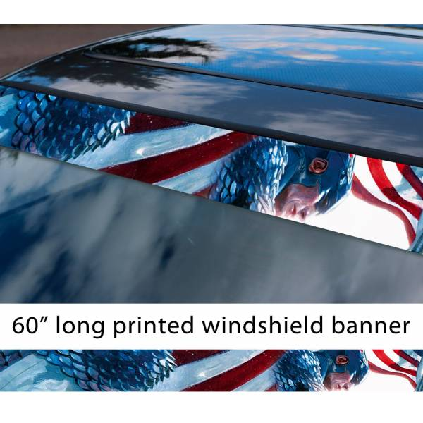 "60"" Captain America USA Flag Stars Stripes Marvel Sun Strip Printed Windshield Graphics Vinyl Sticker Decal"