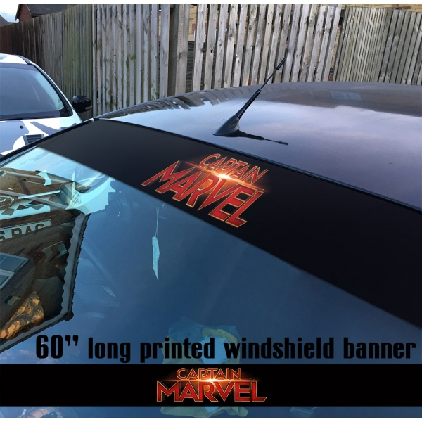 "60"" Captain Marvel Logo Star V1 Carol Danvers U.S. Navy Air Force NASA Kree Empire Car-Ell Thanos Avengers Girl Woman Superhero Comic Movie Sun Strip Printed Windshield Car Vinyl Sticker Decal"