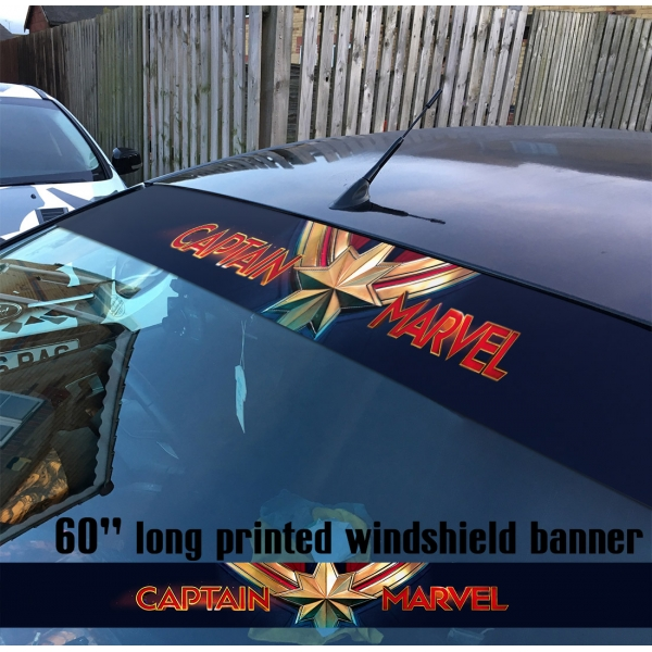 "60"" Captain Marvel Logo Star V2 Carol Danvers U.S. Navy Air Force NASA Kree Empire Car-Ell Thanos Avengers Girl Woman Superhero Comic Movie Sun Strip Printed Windshield Car Vinyl Sticker Decal"