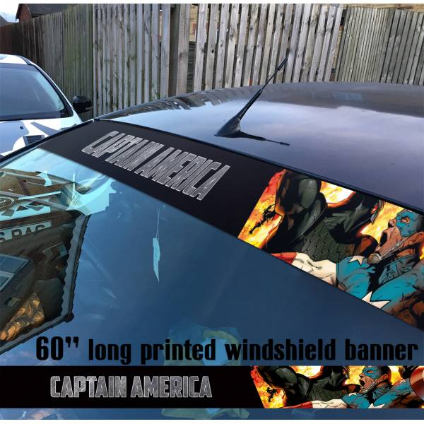 "60"" Captain America Soldier Marvel Sun Strip Printed Windshield Graphics Vinyl Sticker Decal"