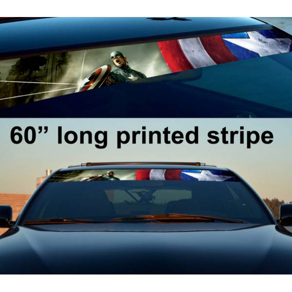 "60"" Captain America v2 Sun Strip Printed Windshield Graphics Vinyl Sticker Decal"