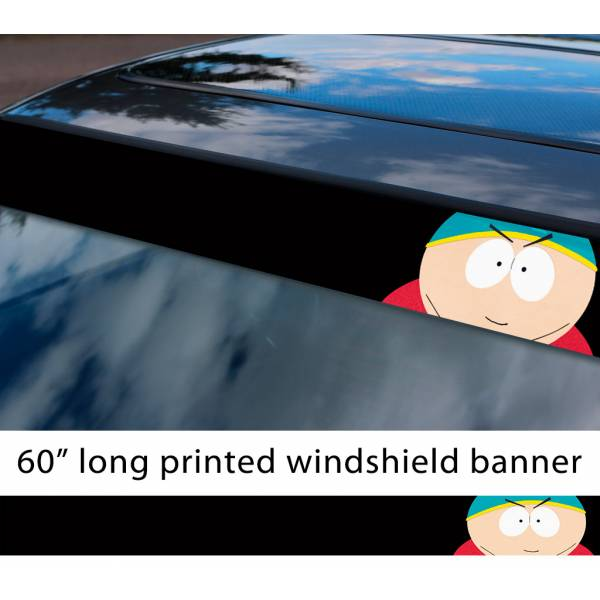 "60"" South Park Eric Cartman Fat Balls TV Show Sun Strip Printed Windshield Car Vinyl Sticker Decal"