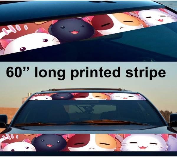 "60"" Cats Cute Girl Woman Sun Strip Printed Windshield Car Vinyl Sticker Decal"