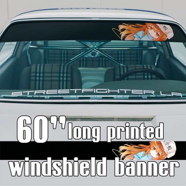 "60"" Platelet v1 Division Cell Blood Megakaryocyte No Lewd Construction Worker Otaku Girl Kawaii Manga Anime Sun Strip Printed Windshield Car Vinyl Sticker Decal>"