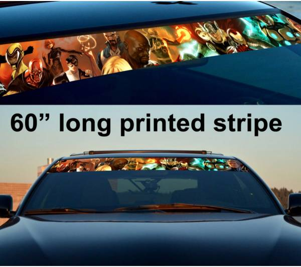 "60"" Comics v3 Marvel Sun Strip Printed Windshield Graphics Car Truck Vinyl Sticker Decal"
