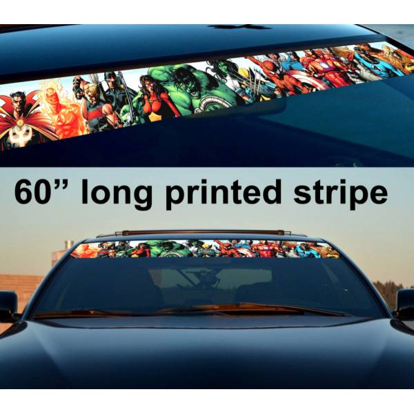 "60"" Comics v4 Marvel Hero Sun Strip Printed Windshield Graphics Car Vinyl Sticker Decal"