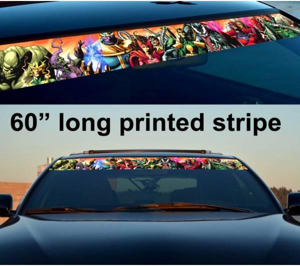 "60"" Comics v5 Marvel Evil Sun Strip Printed Windshield Graphics Car Vinyl Sticker Decal"