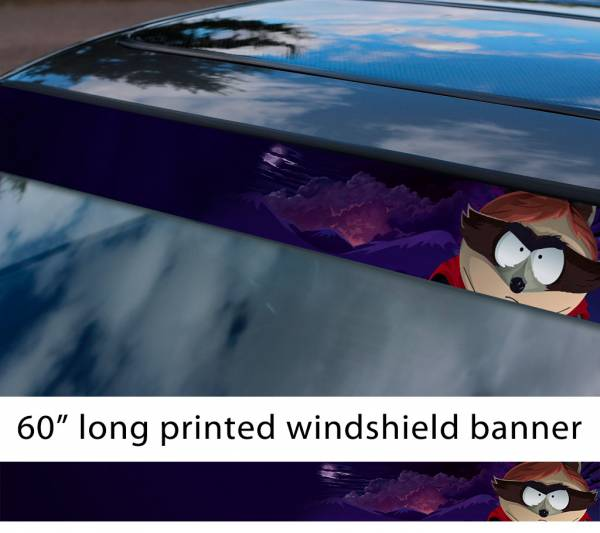 "60"" South Park Eric Cartman Coon Hero Fractured But Whole TV Show Sun Strip Printed Windshield Car Vinyl Sticker Decal"