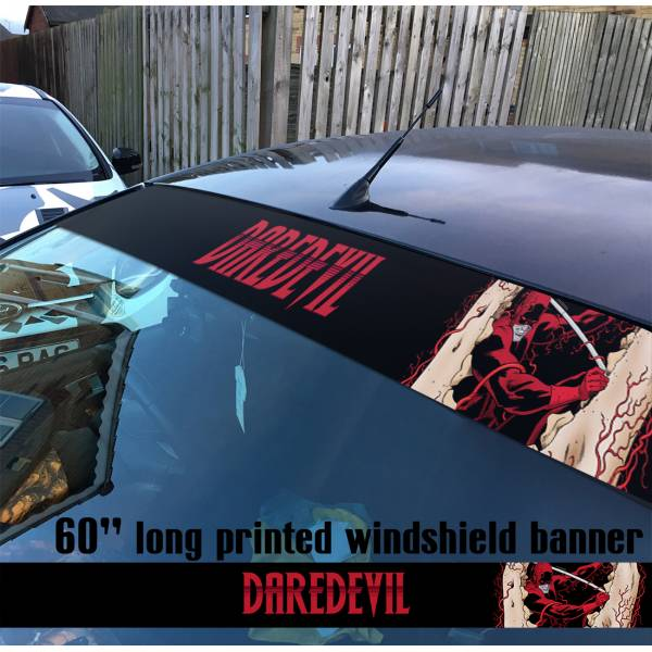 "60"" Daredevil Marvel Shield Sun Strip Printed Windshield Car Vinyl Sticker Decal"