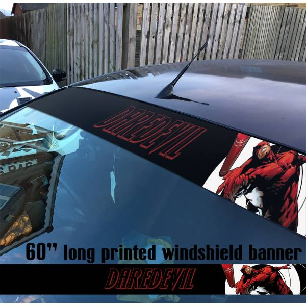 "60"" Daredevil Marvel Matt Avengers Sun Strip Printed Windshield Car Vinyl Sticker Decal"