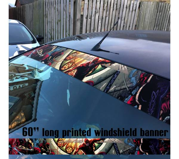 "60"" Daredevil Marvel Comics Defenders Sun Strip Printed Windshield Car Vinyl Sticker Decal"
