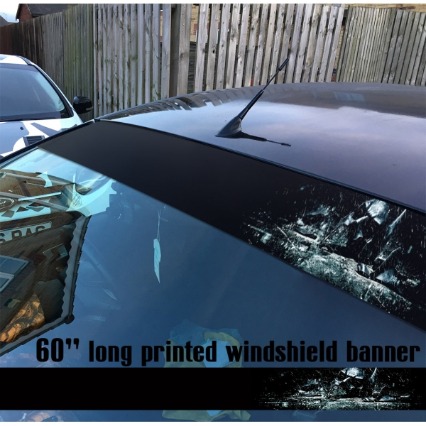 "60"" Bruce Wayne Helmet Dark Knight Gotham Hahaha Why So Serious Sun Strip Printed Windshield Car Vinyl Sticker Decal>"