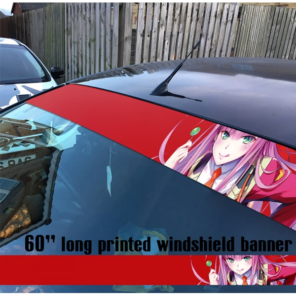 "60"" Darling in the Franxx v2 Zero Two Hiro Code 002 Strelizia Sutorerichia Sexy Girl Anime Manga Sun Strip Printed Car Vinyl Sticker Decal>"